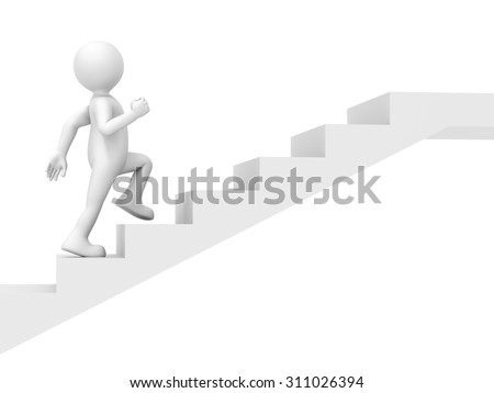 An image of a funny little man climbing stairs - stock photo