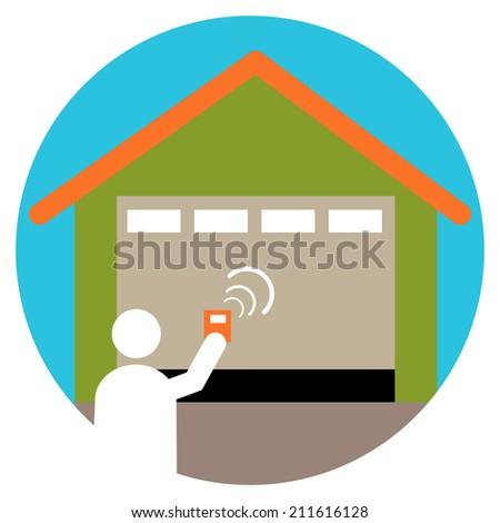 An image of a garage door opener icon. - stock photo
