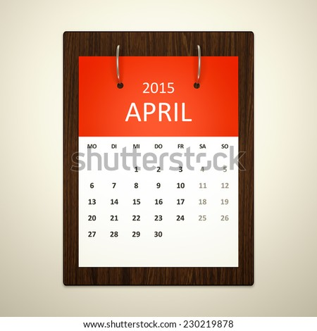 An image of a german calendar for event planning april 2015 - stock photo