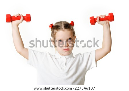 An image of a  girl with dumbbells
