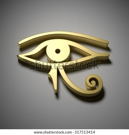 An image of a golden Egypt eye - stock photo