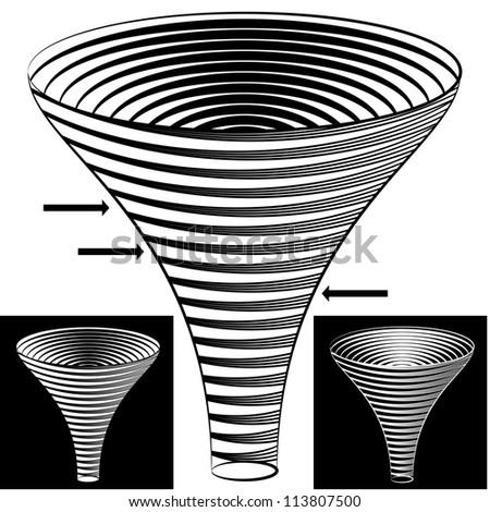 An image of a halftone funnel chart. - stock photo
