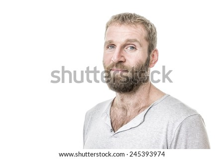 An image of a handsome bearded man casual - stock photo