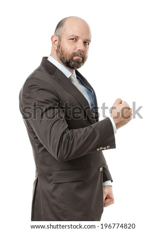 An image of a handsome business man with a fist - stock photo
