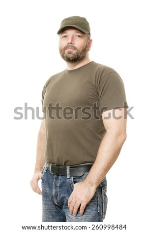 An image of a handsome man with a beard body isolated on white - stock photo
