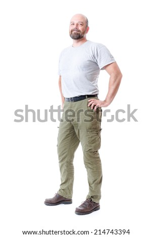 An image of a handsome man with a beard full body isolated on white - stock photo