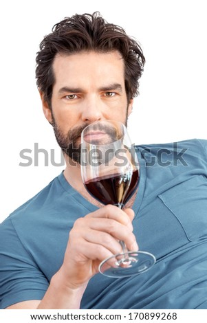 An image of a handsome man with a wine glass - stock photo