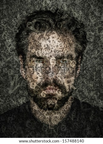 An image of a human face in letters - stock photo