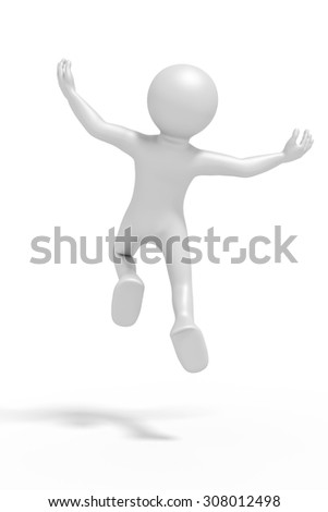 An image of a jumping winning man