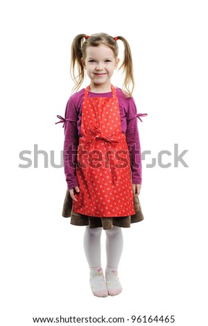 An image of a little girl on white background - stock photo
