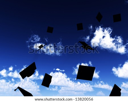 An image of a lot of mortar boards thrown in the air in celebratory fashion due to the success of graduation. - stock photo