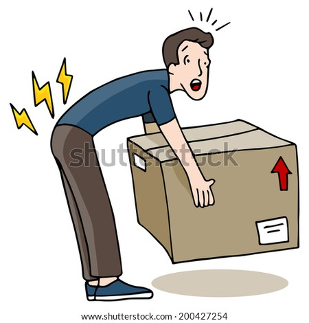 An image of a man injuring his back while lifting a box. - stock photo