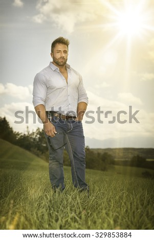 An image of a man outdoors sun