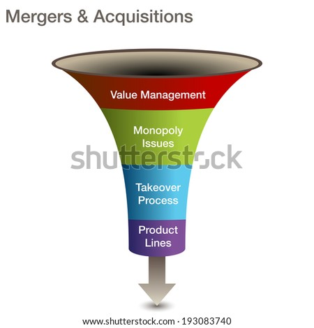 An image of a mergers and acquisitions 3d chart. - stock photo