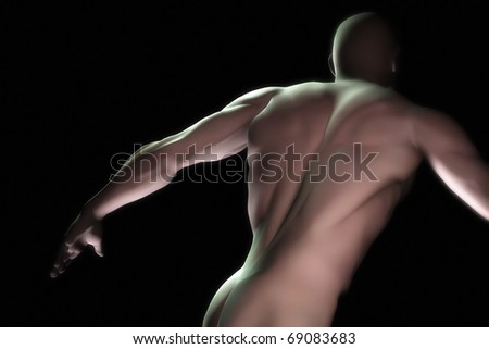 An image of a muscular male torso - stock photo