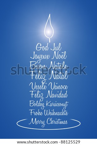 An image of a nice blue christmas greeting candle - stock photo