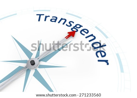 An image of a nice blue compass with the word transgender - stock photo
