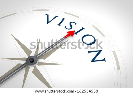 An image of a nice blue compass with the word Vision - stock photo