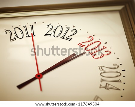 An image of a nice clock with 2011 2012 2013 2014 - stock photo