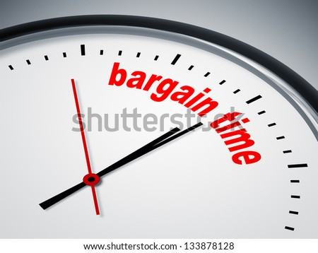 An image of a nice clock with bargain time