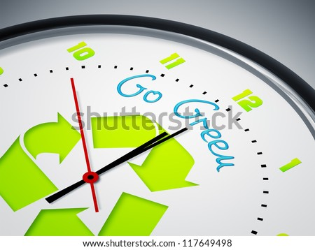 An image of a nice clock with Go Green - stock photo