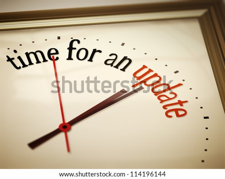 An image of a nice clock with time for an update - stock photo