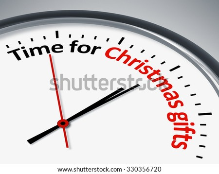 An image of a nice clock with Time for Christmas gifts
