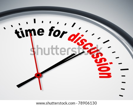 An image of a nice clock with time for discussion - stock photo