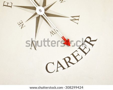 An image of a nice compass with the word career - stock photo