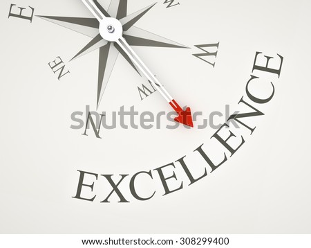 An image of a nice compass with the word excellence - stock photo