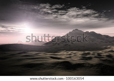 An image of a nice desert sunset - stock photo