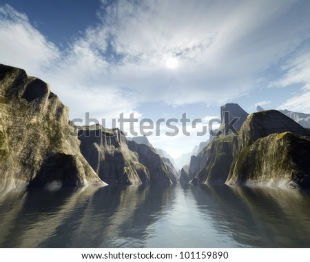 An image of a nice fantasy canyon - stock photo