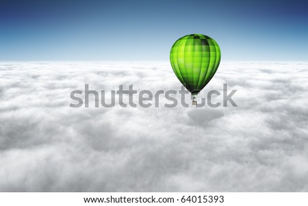 An image of a nice green balloon above the clouds with space for your text - stock photo