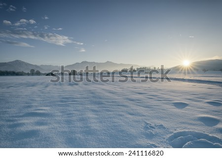An image of a nice winter scenery sunset - stock photo