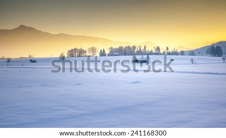 An image of a nice winter scenery sunset