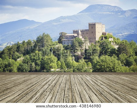 An image of a photo mural italy castle - stock photo