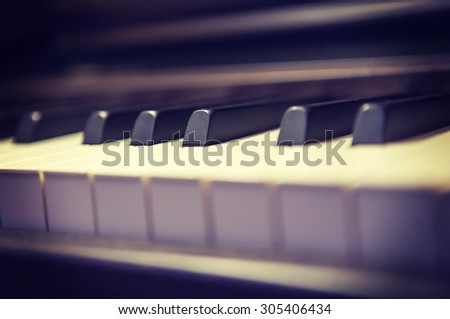 An image of a piano keyboard with a vintage twist. Image has applied a vintage effect and added some noise to the image to create some artistic flavor. - stock photo