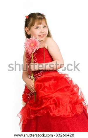 An image of a portrait of a nice girl with pink flower