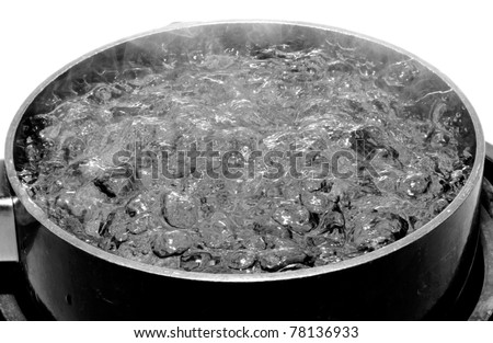 An image of a pot of boiling water isolated on white. - stock photo