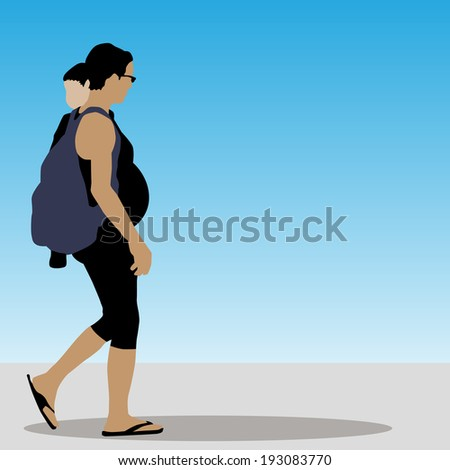 An image of a pregnant woman with child walking.