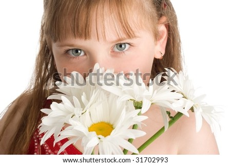 An image of a pretty girl with white flowers