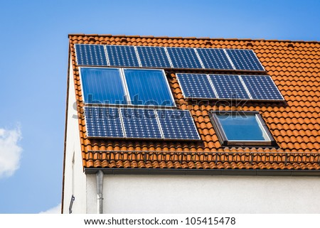 An image of a private solar plant - stock photo