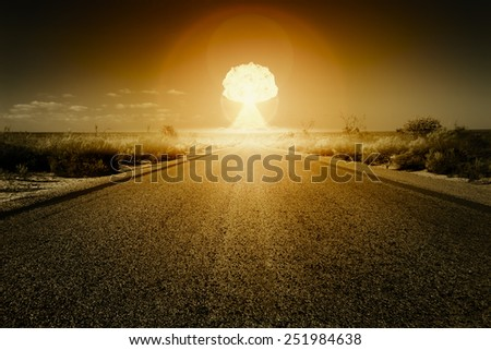 An image of a road to a nuclear bomb explosion - stock photo