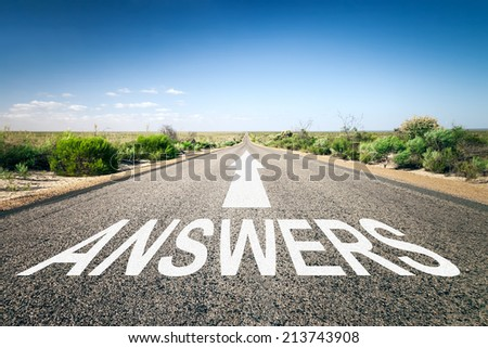 An image of a road to the horizon with text answers - stock photo