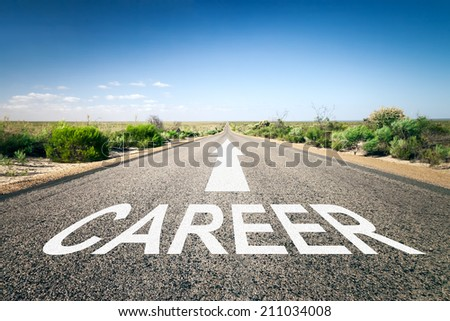 An image of a road to the horizon with text career - stock photo