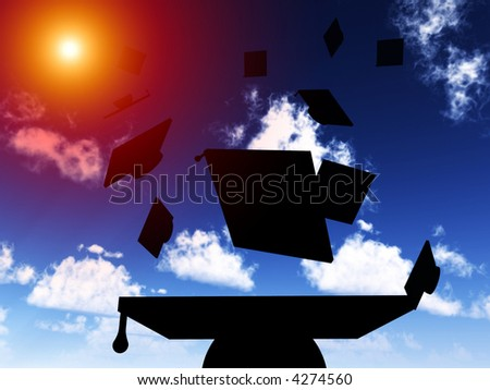 An image of a set of mortar boards being thrown in the air during gradation day, with added sun effect. - stock photo
