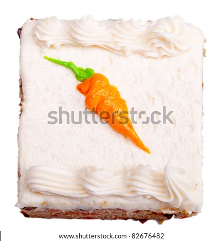 An image of a single serving of carrot cake isolated on white. - stock photo