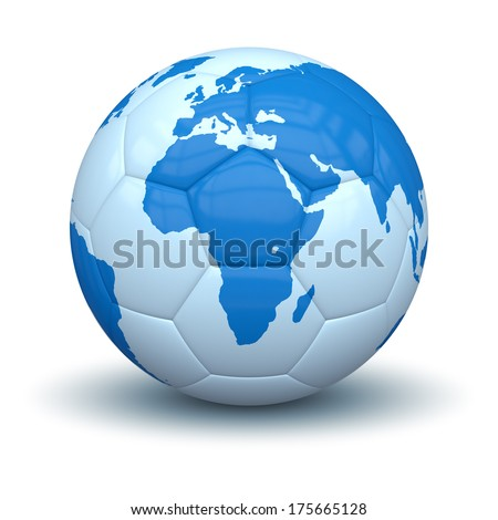 An image of a soccer ball with world map