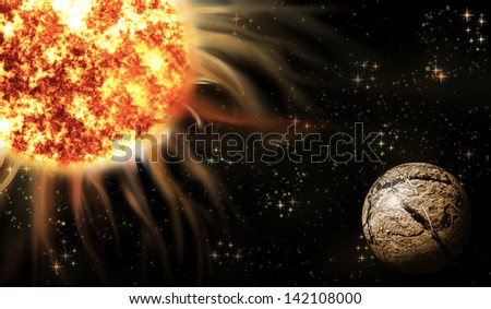An image of a space with planet and hot star - stock photo