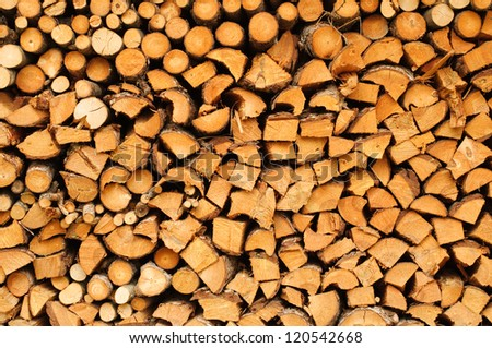 An image of a stack of firewood prepared for winter